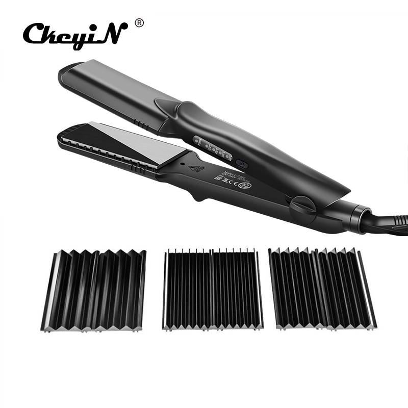 Interchangeable 4 in 1 Fast Hair Straightener Corn Wave Plate Electric Hair Crimper Large To Small W