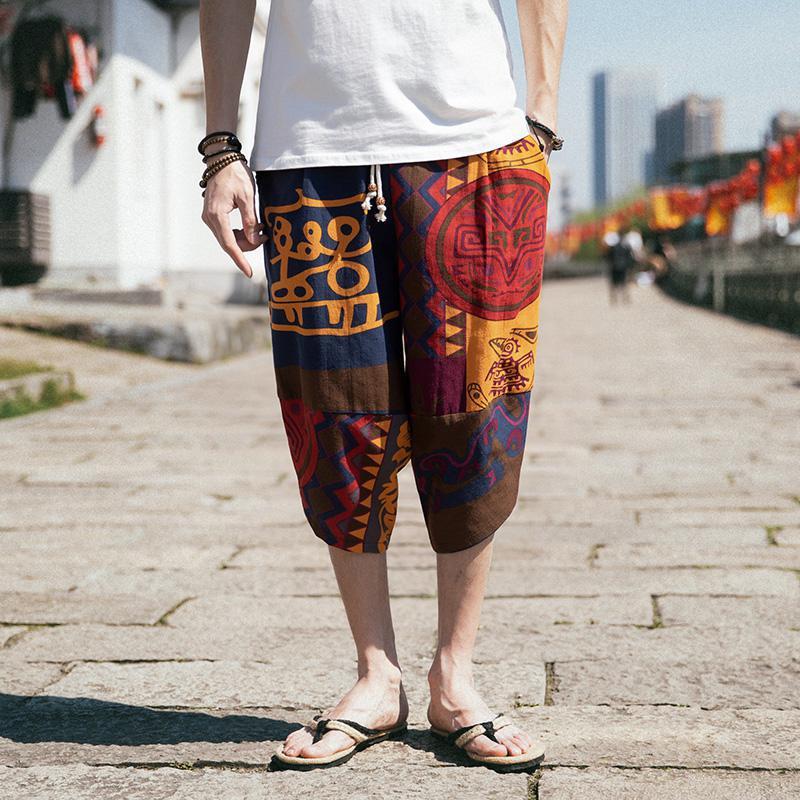 16 padrões M-5XL calças de linho tamanhos grandes drawstring boho design praia floral linho casual crapi harem pants masculino xxxxxl