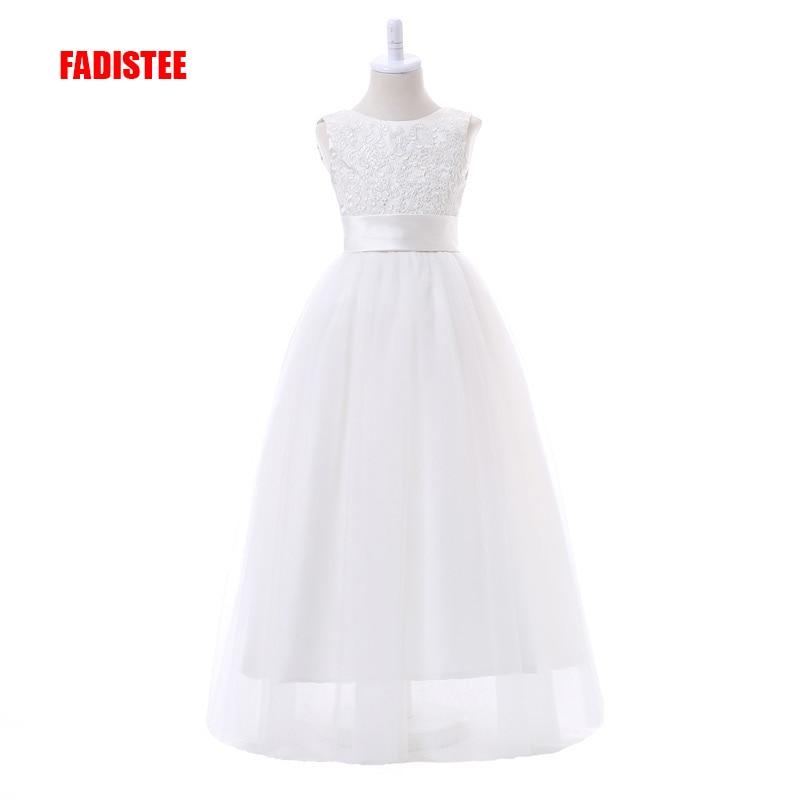 FADISTEE جديد وصول الأبيض تول جميلة زهرة فتاة فساتين يزين طفلة الرضع الدانتيل اللباس شحن مجاني