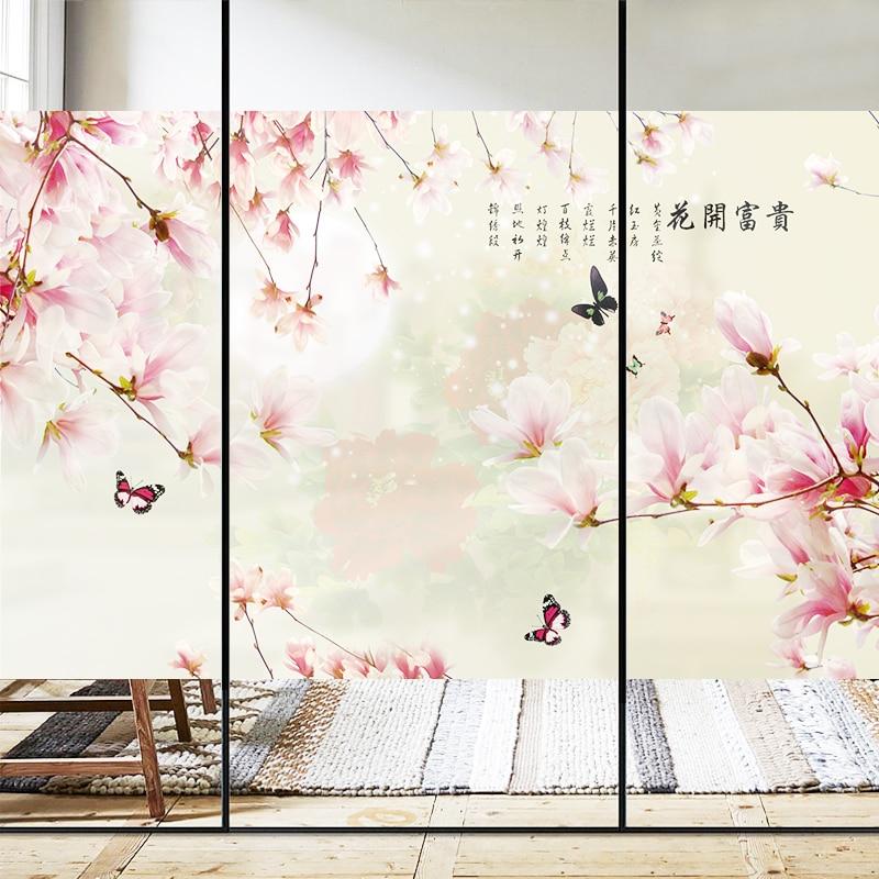 Static fashion wardrobe sliding door sticker glass film window film opaque custom glass wall moon flower butterfly