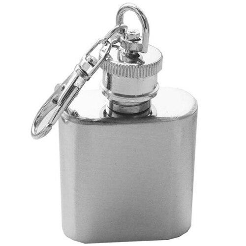 Карманная мини-фляжка из нержавеющей стали 1 унции, алкогольный фляжка с брелком, Высококачественная фляжка для ключей серебристого цвета, подарок для мужчин