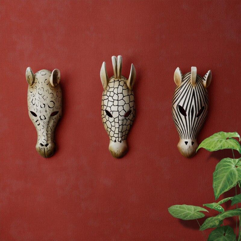 قناع وجه حيوانات بمصباح على الطراز الأفريقي ، شماعة جدارية زخرفية ، شريط مطعم ، عمل فني إبداعي ، أعمال فنية عصرية مصنوعة من الراتنج