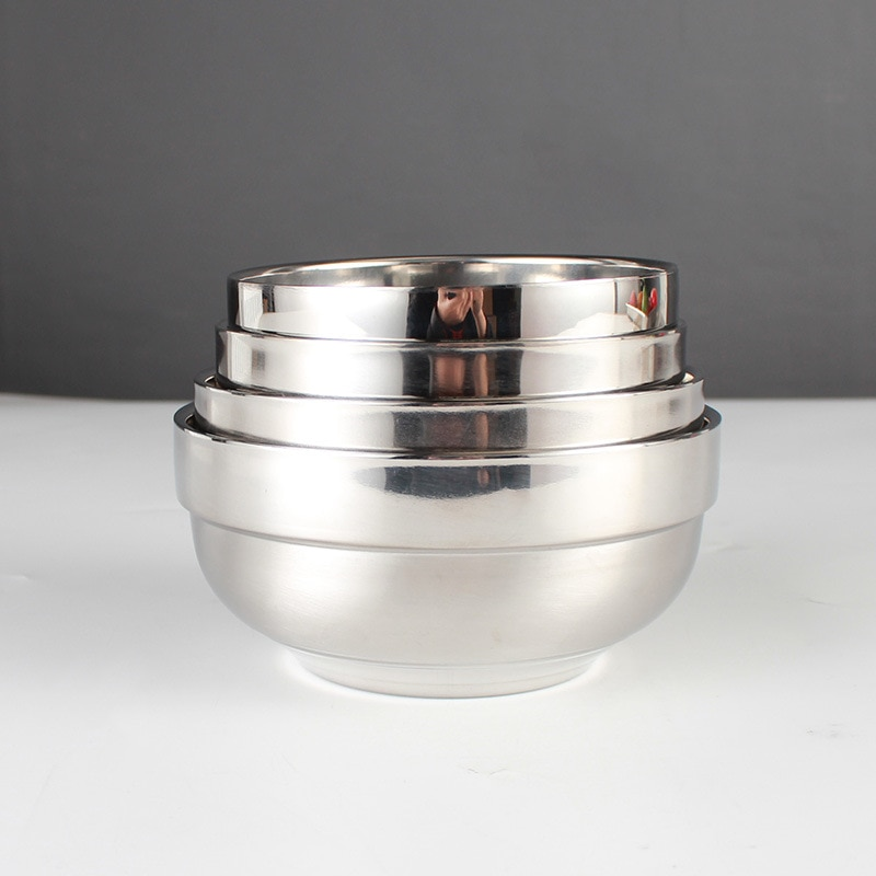 4Pcs Round Silver Bowls Kitchen Tableware Food Rice Container 304 Stainless steel Non Slip Double Hot Insulation Kids Adult Bowl