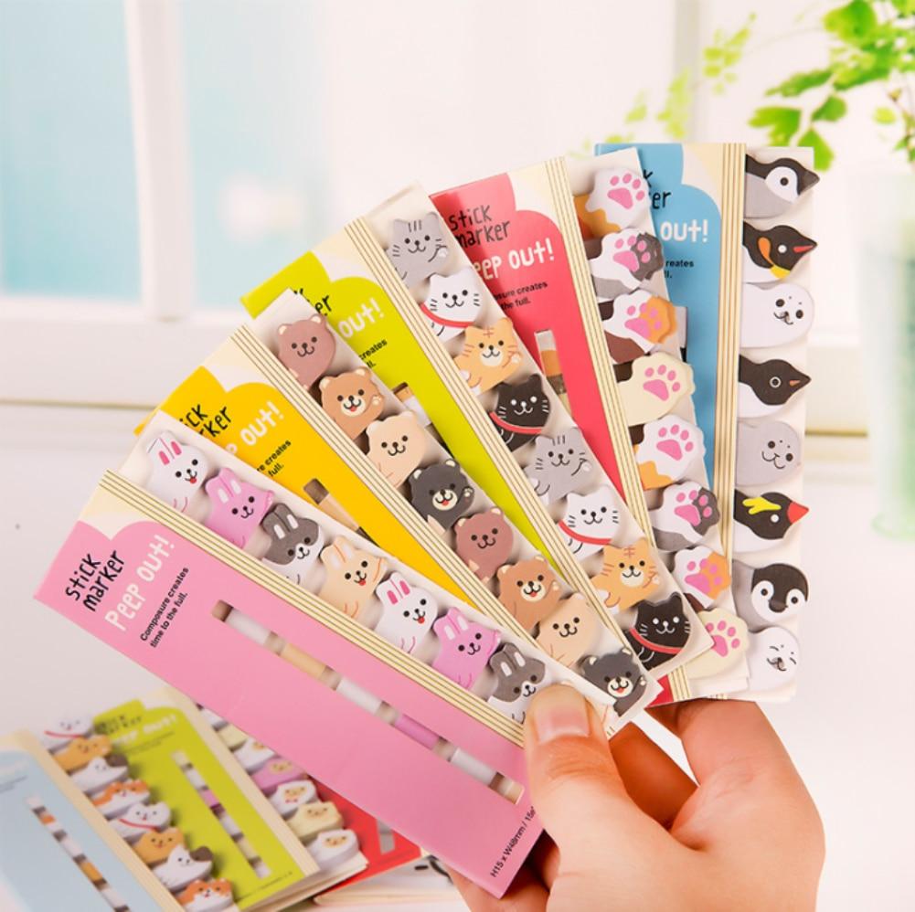 Beaux animaux de bande dessinée Kawaii mignon japonais et coréen papeterie rangée animaux signets Note papier bureau étudiant fournitures