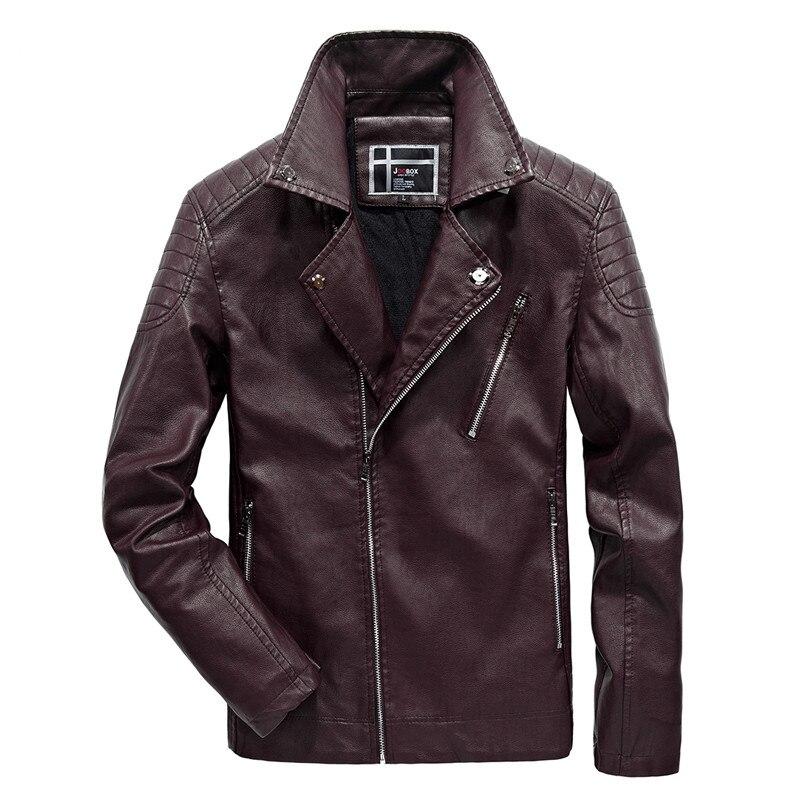 Nueva chaqueta de cuero de invierno de la motocicleta de la PU de la marca 2018 de la marca de los hombres de otoño gruesa ropa de lana de abrigo de bolsillo negro Casual para hombre 6XL
