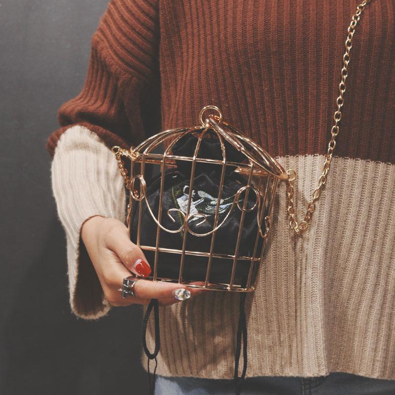 Bolso de noche para mujer 2019, bolso de mano con marco de Metal, cubo bordado, jaula para pájaros, Mini bolso, borla de oro para mujer, bolso para mujer