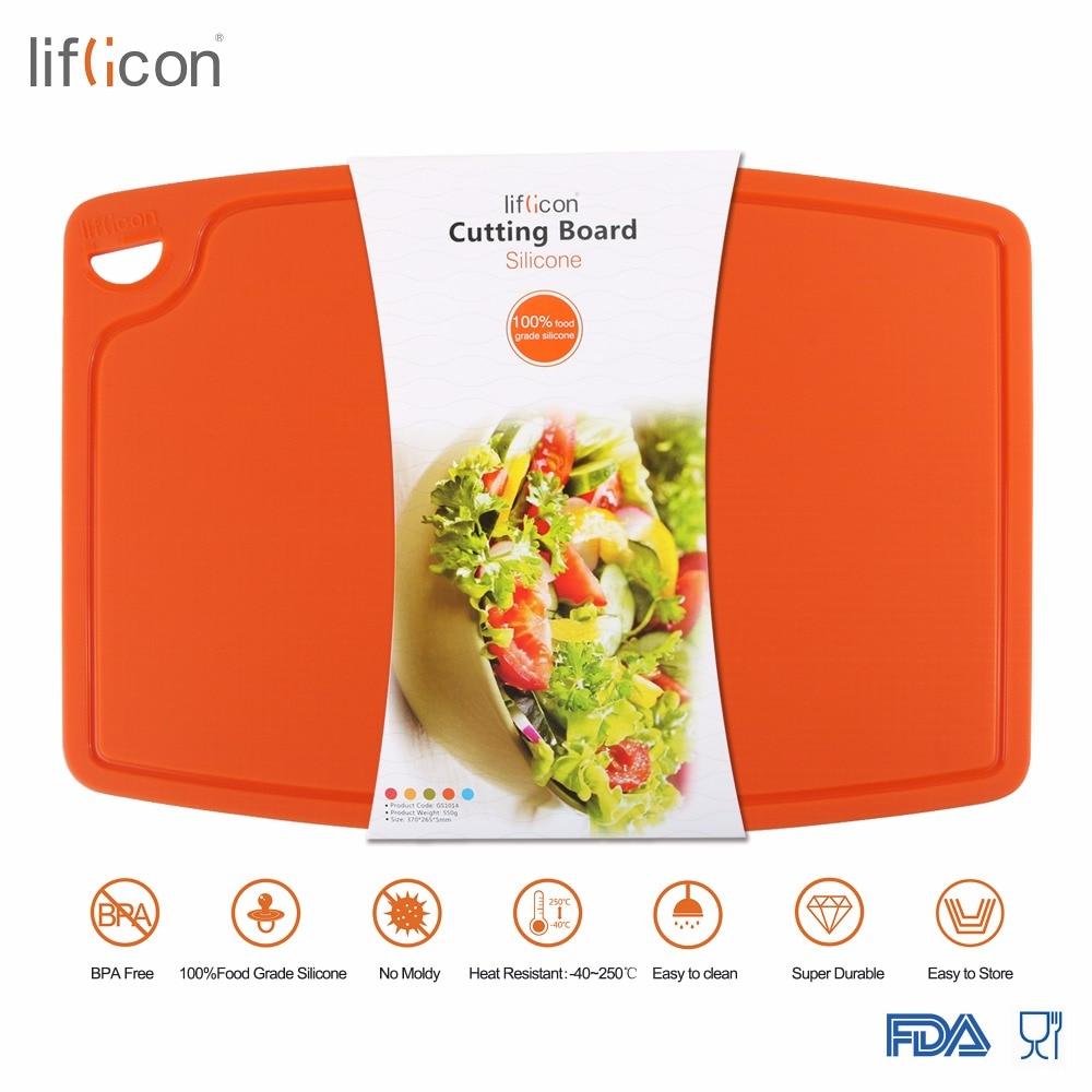 Liflicon большая силиконовая разделочная доска для мяса и овощей, нескользящая Гибкая разделочная доска, антимикробная Толстая разделочная до...