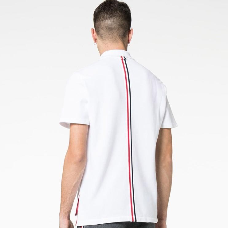 2019 Fashion TB THOM Brand T-Shirt Men Women Couple Short Casual Clothing Summer Turn-down Collar Cotton Shirts