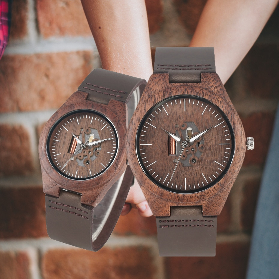 Coffee Brown Lovers Wood Watch Creative Arts Hollow Couple Timepiece Casual Men's Genuine Leather Watches Lady Wristwatches Gift redfire coffee brown walnut wood men watch brown genuine leather watch strap casual wooden mens watches digital round dial