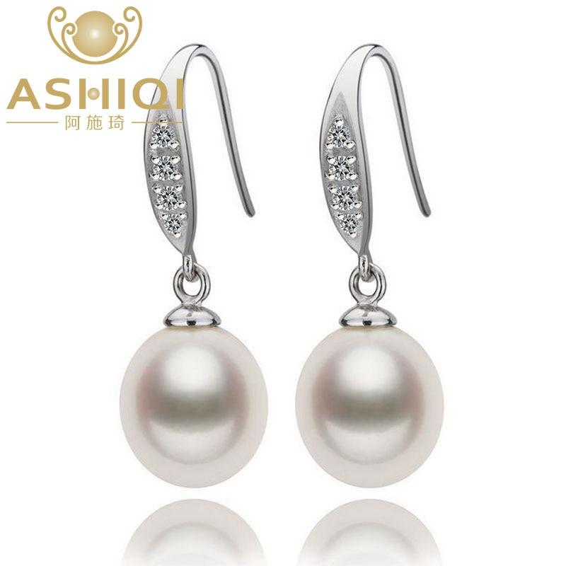 Pendientes colgantes de perlas de agua dulce naturales de ASHIQI, joyería de plata de ley 925 con perlas para mujer