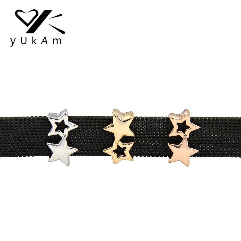 Joyería YUKAM, espaciadores deslizantes, Color plata, oro rosa, abalorios deslizantes de doble Estrellas pequeñas, portero para pulsera de malla, fabricación de accesorios