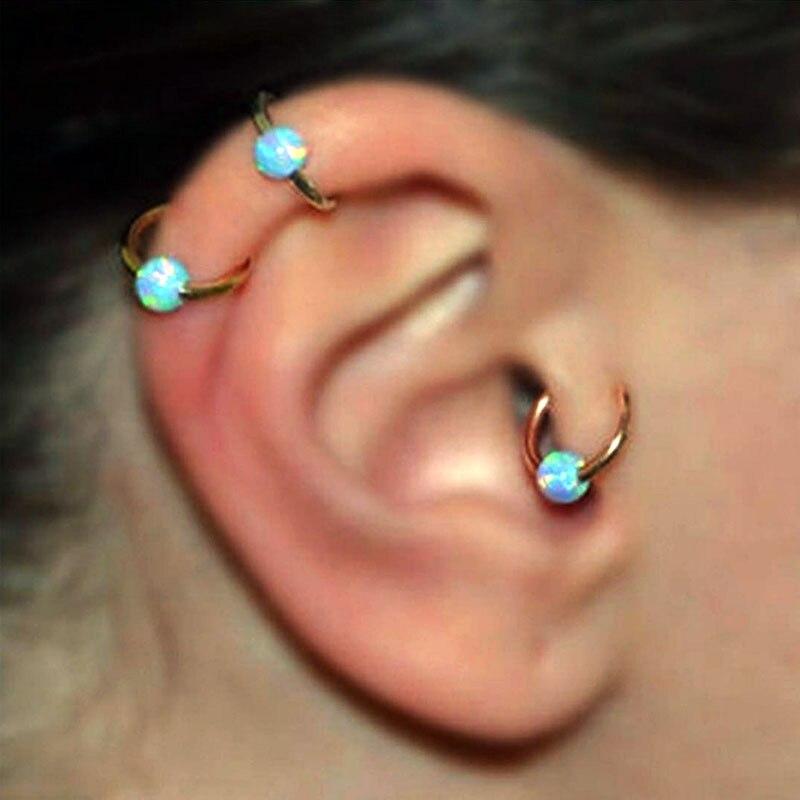 2 uds Piercing Clip pendientes imitación ópalo aro Clip en nariz cuerpo falso Piercing joyería para mujeres