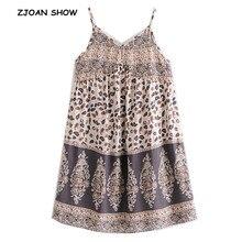 2019 nuevo bohemio contraste color Floral leopardo estampado Spaghetti Strap Vestido caqui étnico Mujer Sling vestidos playa Femme Vestido
