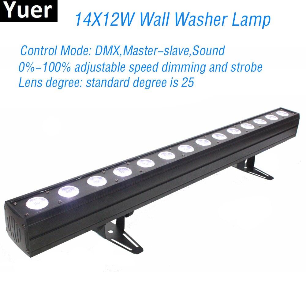 جديد ديسكو الإضاءة 14X12W RGBWA-UV 6IN1 أدى الجدار غسل ضوء DMX LED حزب بار المرحلة تأثير أضواء DJ الموسيقى الألوان مصباح