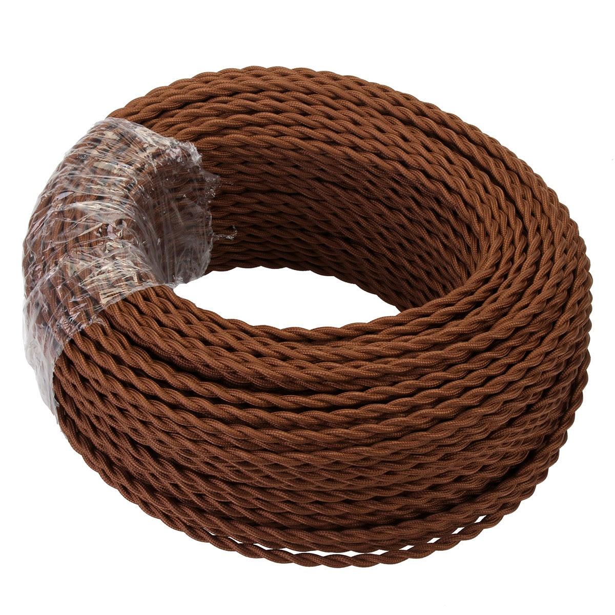 Cable de cuerda eléctrico de 2 núcleos de 5/10/20 metros de café Cable de iluminación trenzado antiguo Cable de seda tejida Flexible Cable de alambre