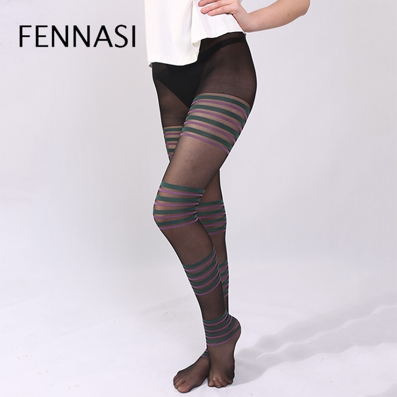 FENNASI Female Jacquard Striped Womens Tights Green Purple Striped Pattern Sexy Pantyhose Nylons Lady Female Erotic Black Tight