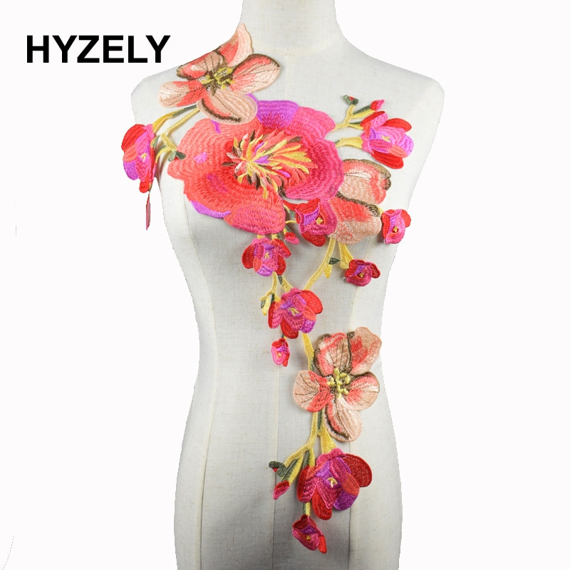 1 pieza de bordado de flor grande apliques, parches coser en tela de encaje cuello ropa con motivos decorado con costura DIY NL146