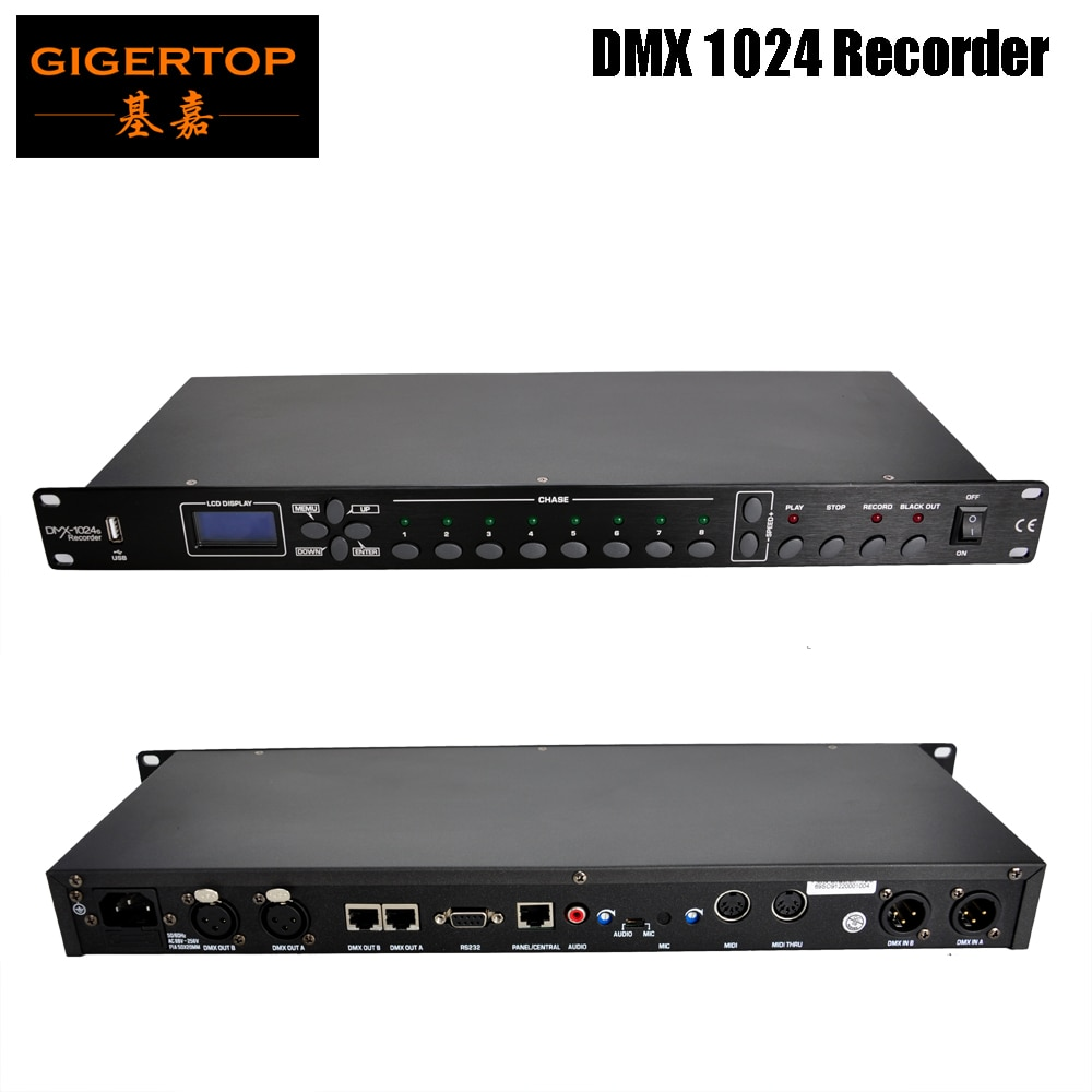 Dispositivo de iluminación Gigertop TP-D1370 Club 512 DMX grabador incorporado 512M almacenamiento, almacenado en 8 programa de recogida de micrófono, audio AV