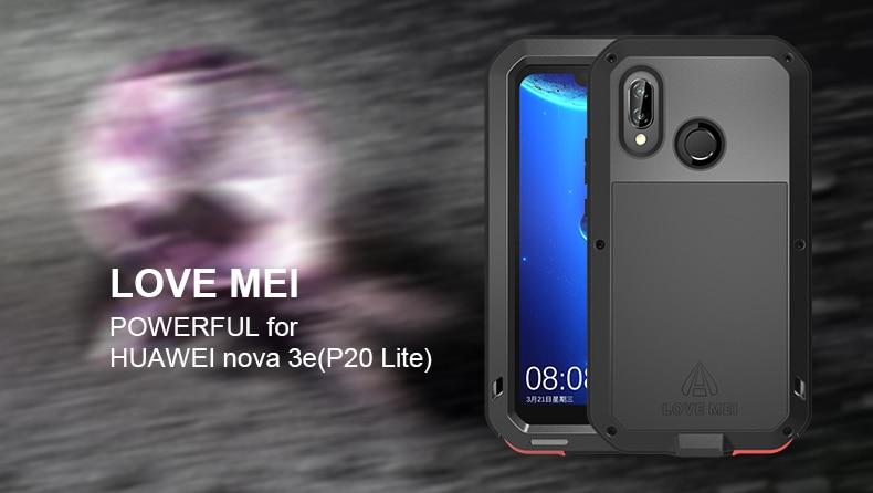 for huawei nova 3e (p20 lite) Case LOVE MEI Shock Dirt Proof Water Resistant Metal Armor Cover Phone Case for huawei Nove 3E