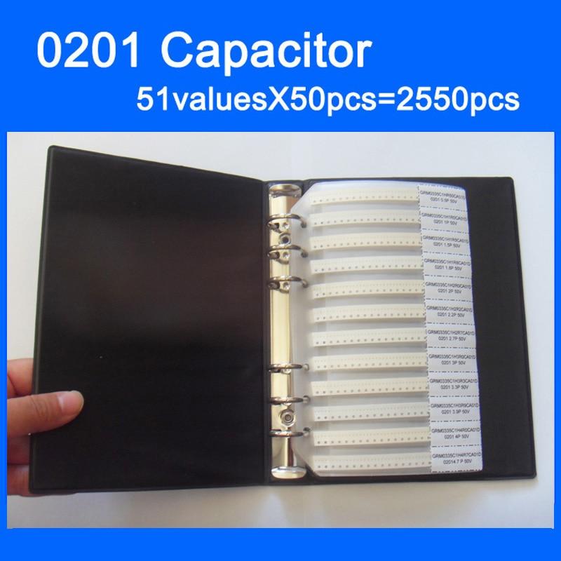Free Shipping 0201 SMD Capacitor Sample Book 51valuesX50pcs=2550pcs 0.5PF~220NF Capacitor Assortment Kit Pack