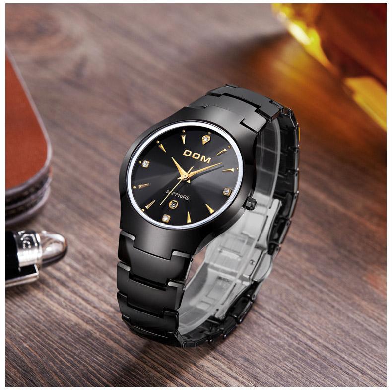 Hk dom luksusowe top marka męska zegarek wolframu stal wrist watch wodoodporna biznesu kwarcowy zegarek fashion casual sport watch 10