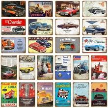Vintage coche Touring Bus carteles de metal Pub Bar garaje de casa decoración americana Chevrolet Corvette pared vintage pintura Póster