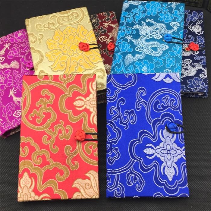 Tapa dura de lujo cuaderno de seda chino Vintage de regalo de Color para adultos diario en blanco brocade artesanía Bloc de notas cuadernos 1 piezas