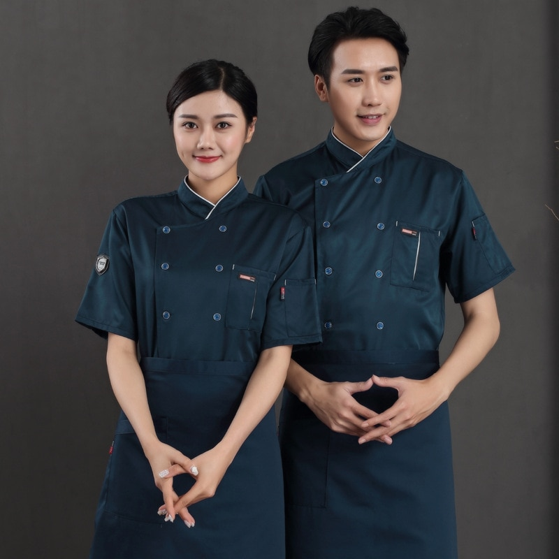 Куртка с коротким рукавом для обслуживания еды, Рабочая форма для кухни, ресторана, одежда для пекарни, кафе, шеф-повара, летняя Рабочая одеж...