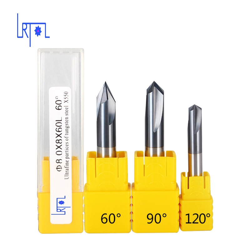 Diâmetro 3,4, 5,6, 8,10, 12mm sólido carboneto de tungstênio chanfro end mill 60/90/120 ângulo reto sulco fresa cnc cortador bits