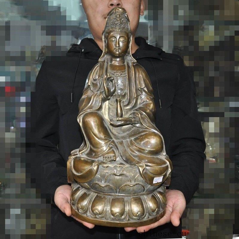 "Christmas 16""China bronze sit lotus vase Kwan-yin Guanyin quanyin goddess Buddha statue Halloween"