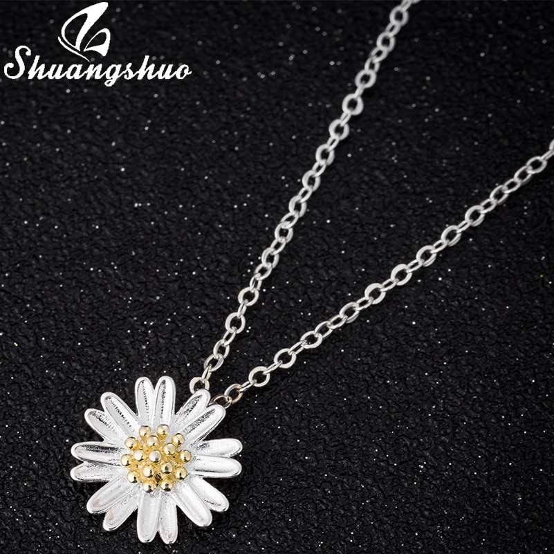 Shuangshuo vintage margaridas colares & pingentes para mulher gerbera crisântemo colar cor prata jóias bijoux femme