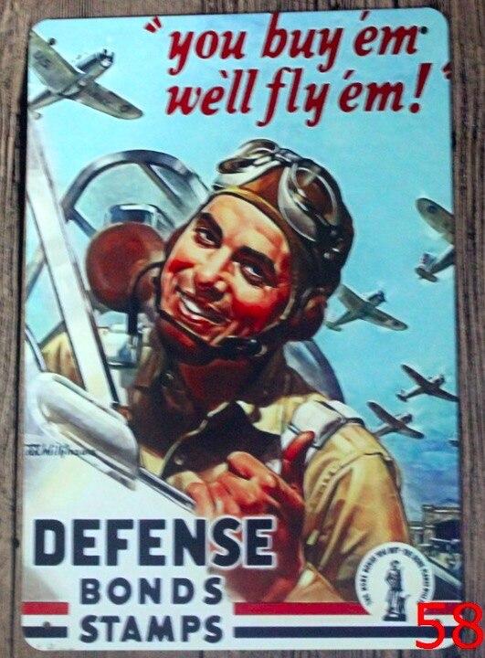 1 unidad avión de guerra Ejército Francés motivación Hell Machine gun Tin Plate Sign pared placas hombre cueva vintage Dropshipping cartel de metal