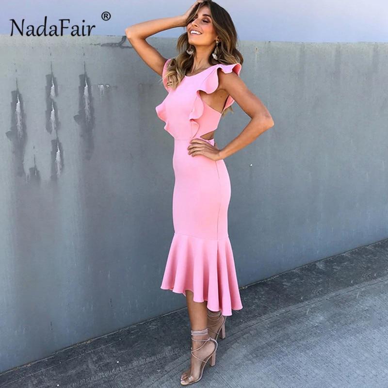 Vestido de fiesta Midi de trompeta nadaffair para mujer, sin espalda, ahuecado, con volantes, ajustado, Sexy, de verano, ajustado, Vestidos rosa, rojo y negro