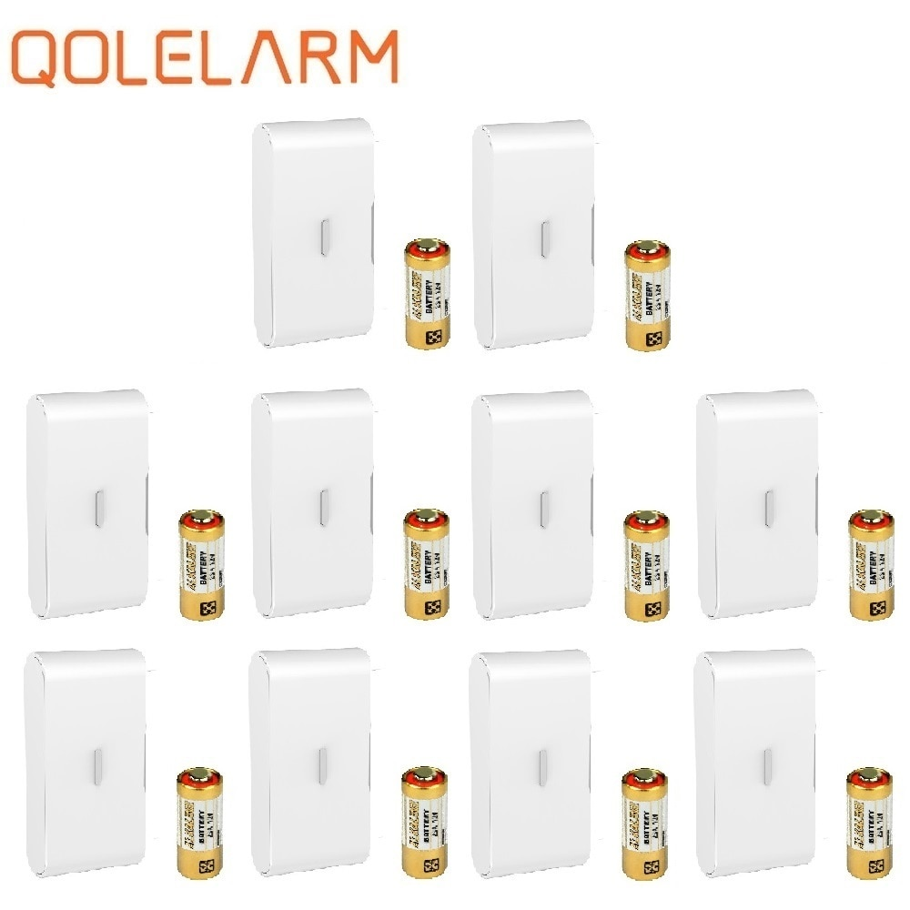 QOLELARM 10 шт. 433 МГц беспроводной датчик вибрации из стекла детектор ломается с батареей для безопасности дома WiFi gsm сигнализация