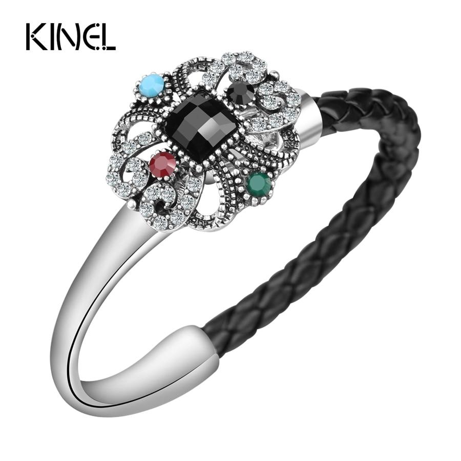 Nuevo estilo, joyería Vintage, pulsera única para mujer, pulsera de cuerda de cuero tejida a mano de plata tibetana, regalo de Navidad