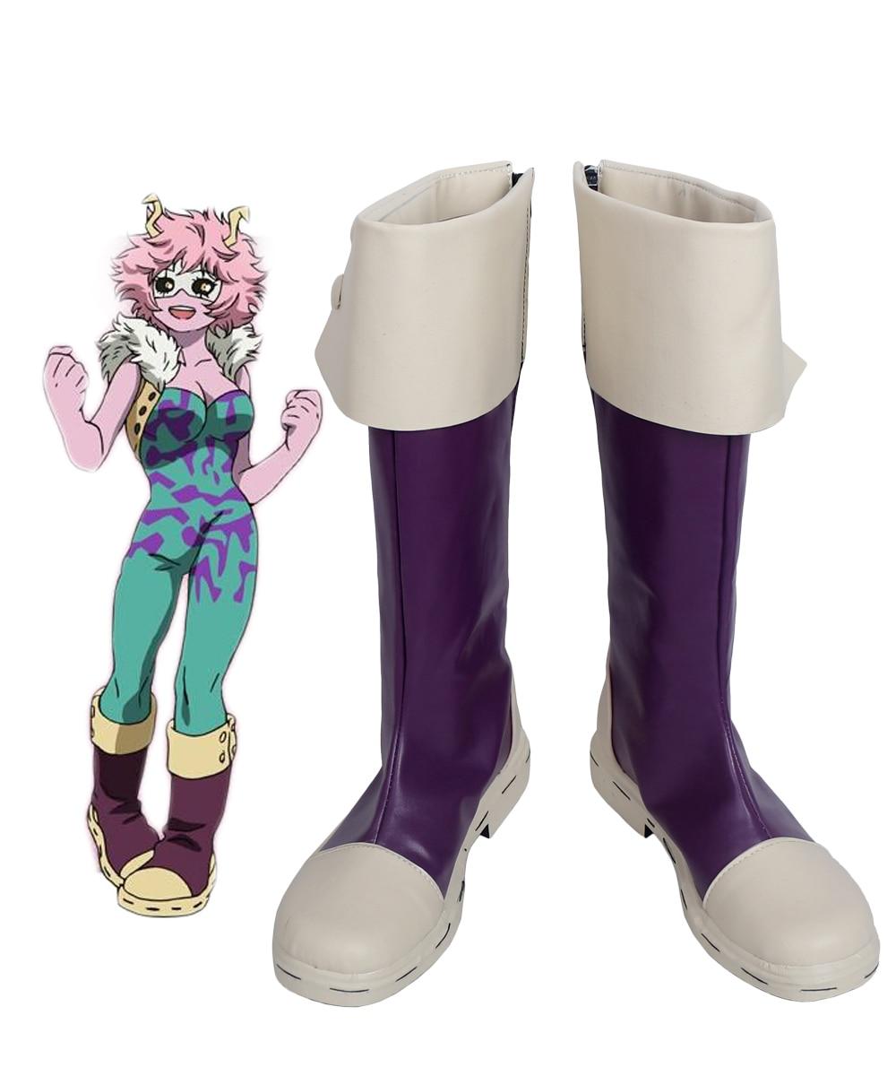 Botas de Cosplay de Mina Ashido, zapatos de Cosplay de Boku no Hero Academia, disfraz hecho a medida de My Hero Academia púrpura