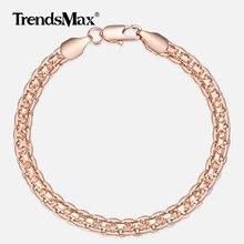 5mm Bracelet pour femmes filles 585 or Rose Bismark lien chaîne Bracelet femme bijoux chaude fête bijoux cadeaux 18cm 20cm GB422
