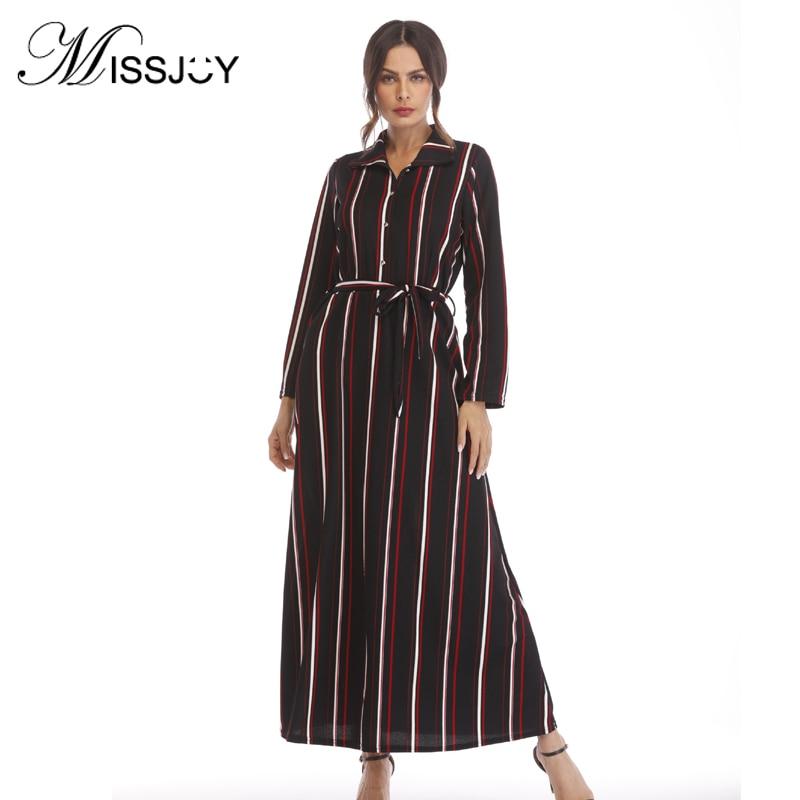 Missjoy 2019 outono feminino manga longa listrado impresso casual festa elegante turco moda ramadã árabe marrocos longo maxi dres