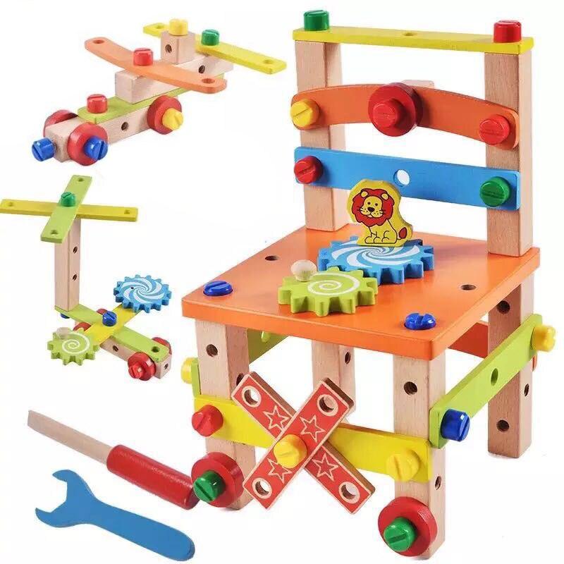 كرسي تجميع متعدد الوظائف للأطفال ، ألعاب ملونة ، أداة تفكيك تصميم خشبي للأطفال ، تعلم لعبة خشبية تعليمية