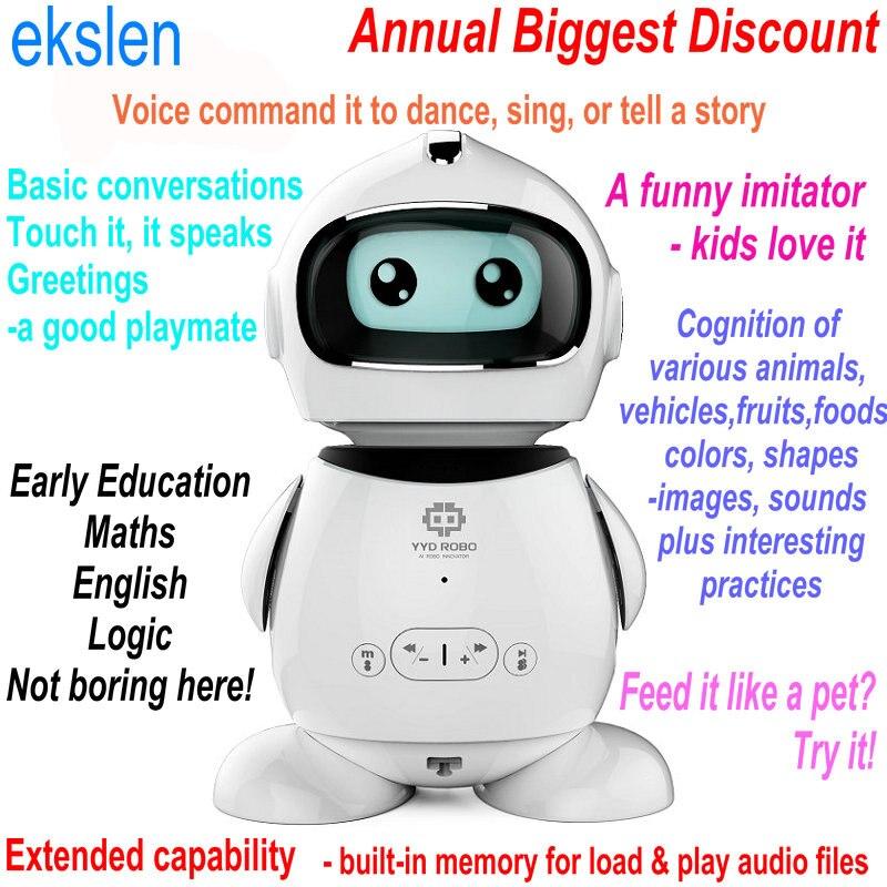 Ekslen الذكية التعليم المبكر روبوت التعلم مع التعرف على الصوت تقليد قصة الصراف الحضانة قافية رواية هدية للأطفال