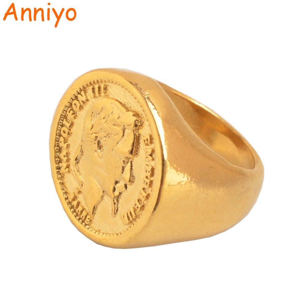 Кольцо для монет Anniyo, Золотое и медное металлическое кольцо для женщин и мужчин, большие кольца для свадьбы в арабских турках, ювелирные подарки #097106