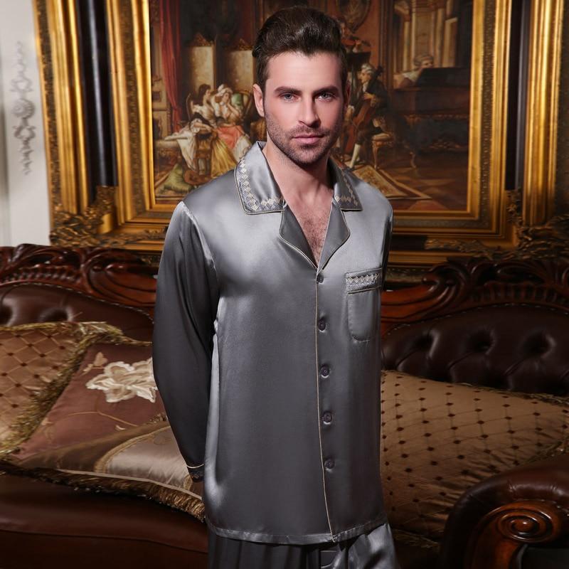 Сексуальный натуральный шелк мужской% 27 пижамы 100% 25 шелкопряд шелк одежда для сна мужской высокое качество длинный рукав пижама брюки из двух частей комплекты 15076