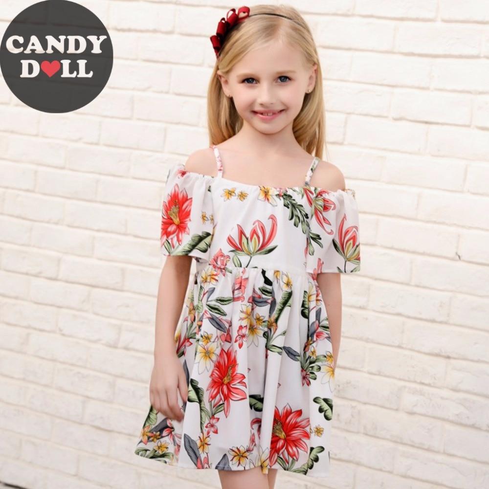estilo verao vestido de alca da menina das criancas floral impressao vestidos de