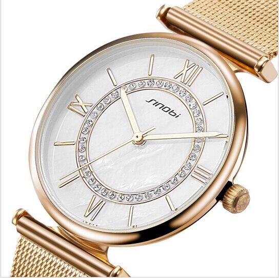 Sinobi relógio de ouro feminino topo da marca de luxo relógios femininos strass senhoras relógio feminino reloj mujer montre femme