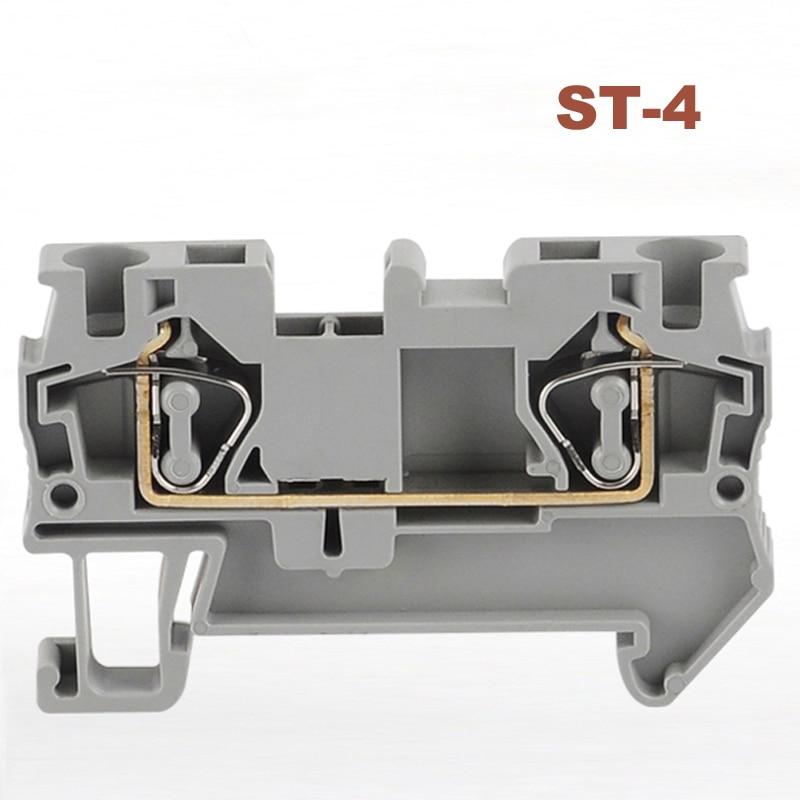 Bloques de terminales de resorte conector ST-4 carril din sin tornillos terminales bloque cable conectores cobre ST4 morsettiera 30A