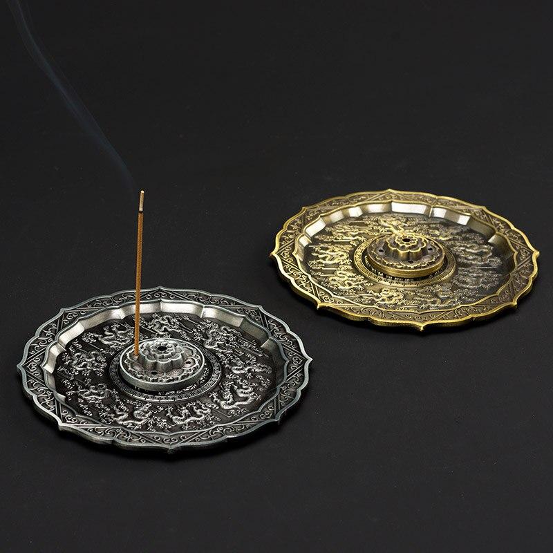 PINNY 9 Dragões Retro 5 Buraco Vara Liga Base de Incenso Queimador de Incenso Decoração Sala de Meditação De Metal Queimador De Incenso de Sândalo