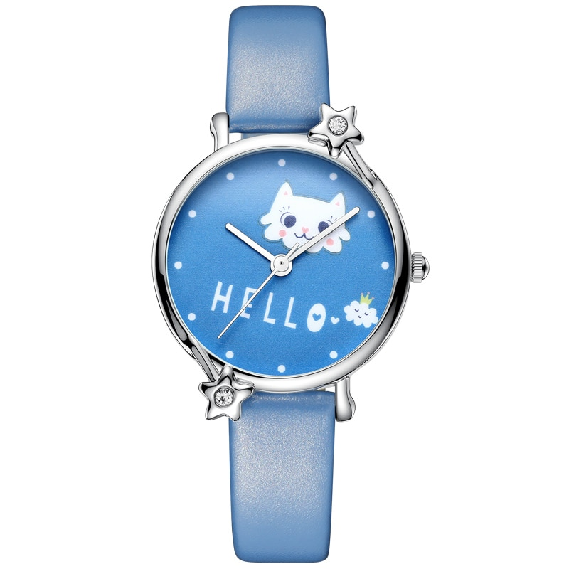 KDM Lovely Kid Children Watches Cute Cat Child Watches Kids Watch Waterproof Genuine Leather Wristwatch Student Girls Clock big sale girl leather strap watch cute women wristwatch child mickey mouse watches girls fashion time lovely hour new pink kids