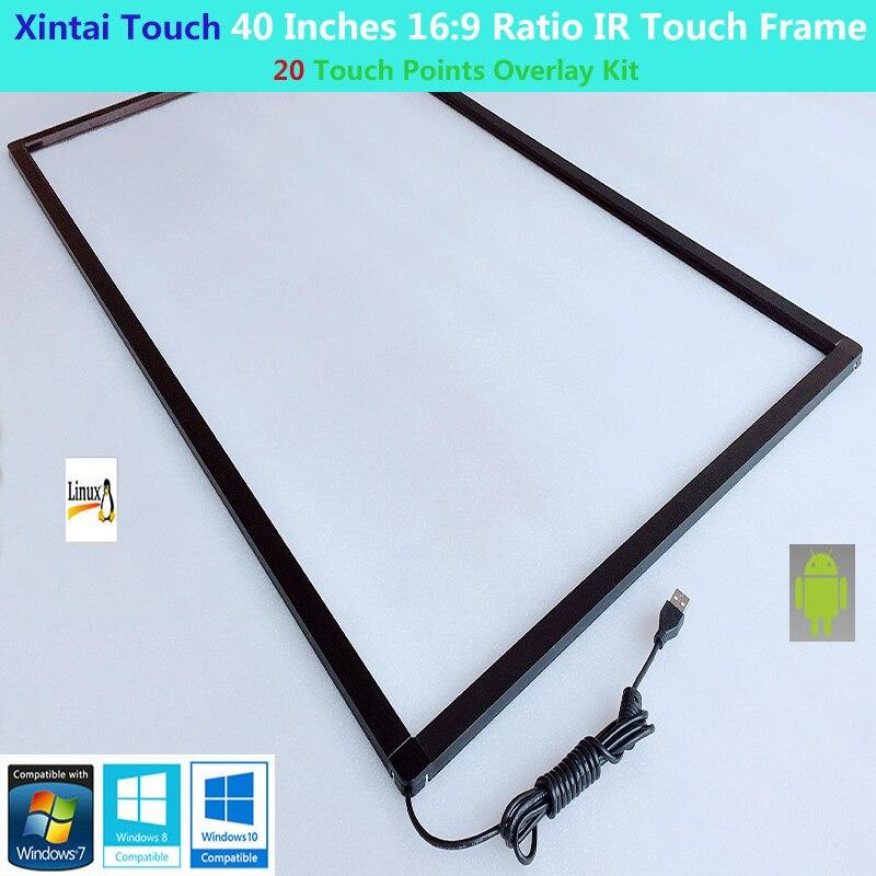 Xintai Touch 40 pulgadas relación 169 20 puntos táctiles Multi-Touch IR marco táctil, pantalla táctil infrarroja, plug & Play