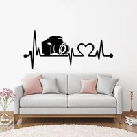camera heartbeat wall vinyl stickers removable lifeline wall art decals camera wall poster home car decoration ay1869