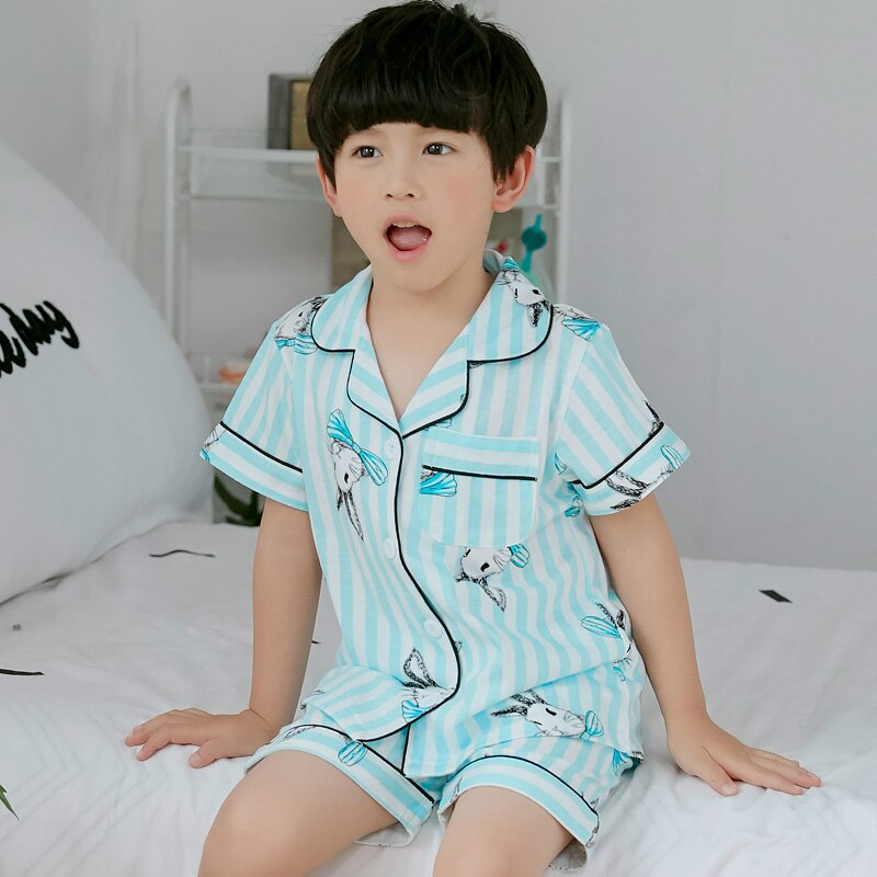 Cartoon Kids Pajamas Cotton Boys Sleepwear Summer Pajamas Girls Short Sleeve T-shirt+Pants Pyjamas Kids Children Clothing Sets R